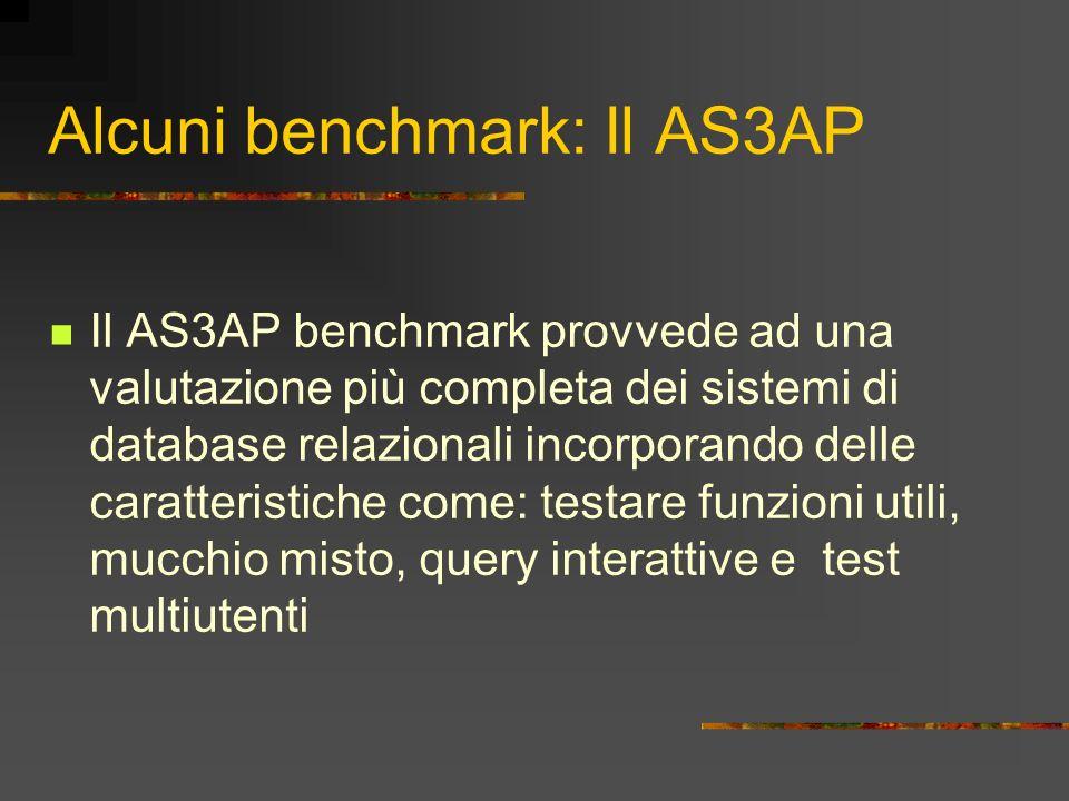 Alcuni benchmark: Il AS3AP Il AS3AP benchmark provvede ad una valutazione più completa dei sistemi di database relazionali incorporando delle caratter