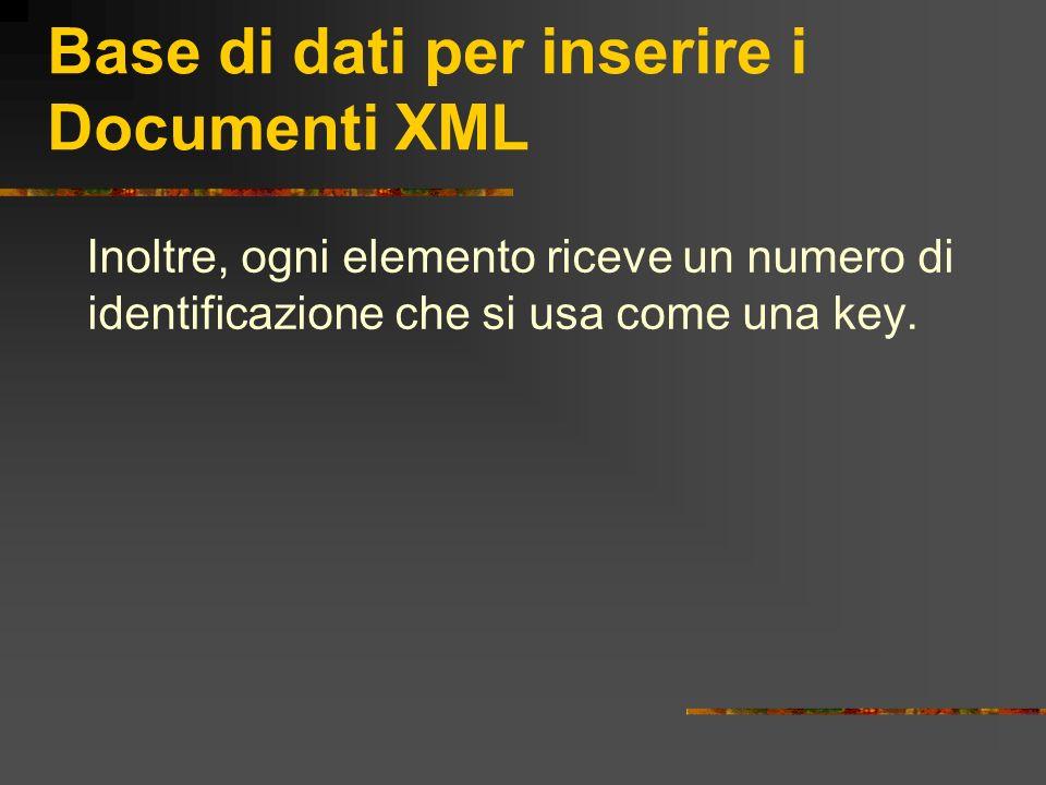 Base di dati per inserire i Documenti XML Inoltre, ogni elemento riceve un numero di identificazione che si usa come una key.