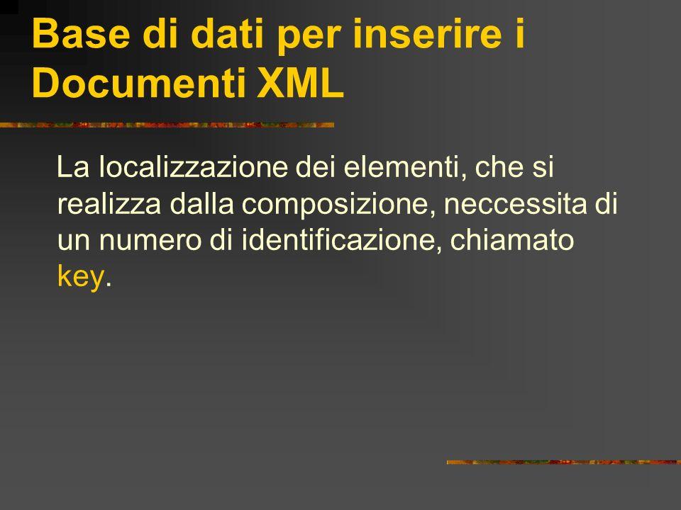 Base di dati per inserire i Documenti XML La localizzazione dei elementi, che si realizza dalla composizione, neccessita di un numero di identificazio