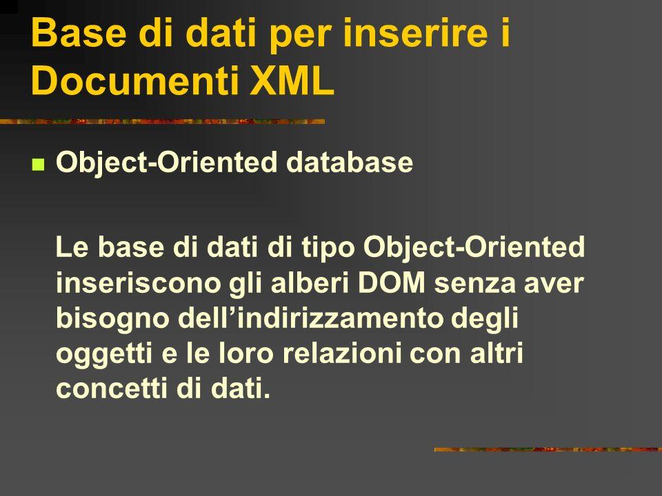 Base di dati per inserire i Documenti XML Object-Oriented database Le base di dati di tipo Object-Oriented inseriscono gli alberi DOM senza aver bisog