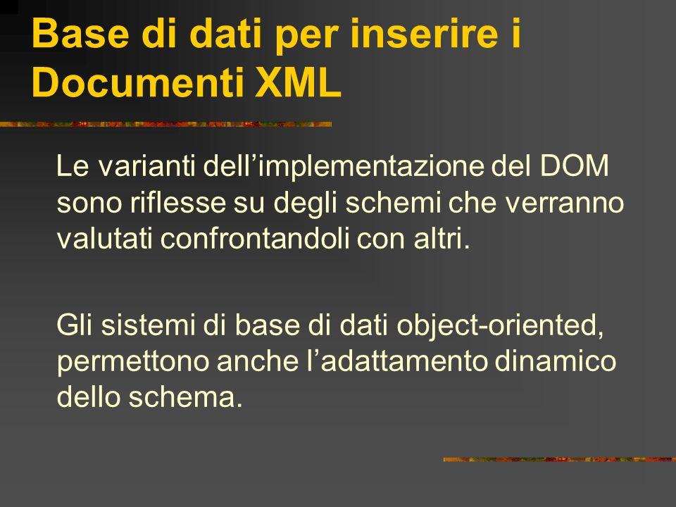 Base di dati per inserire i Documenti XML Le varianti dellimplementazione del DOM sono riflesse su degli schemi che verranno valutati confrontandoli c