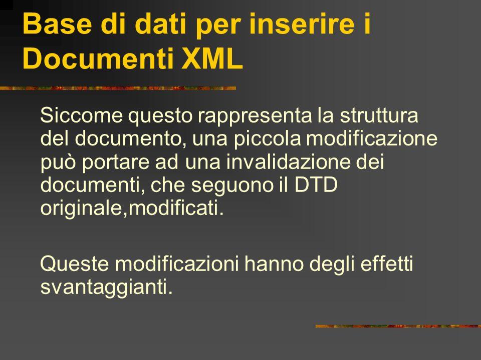 Base di dati per inserire i Documenti XML Siccome questo rappresenta la struttura del documento, una piccola modificazione può portare ad una invalida