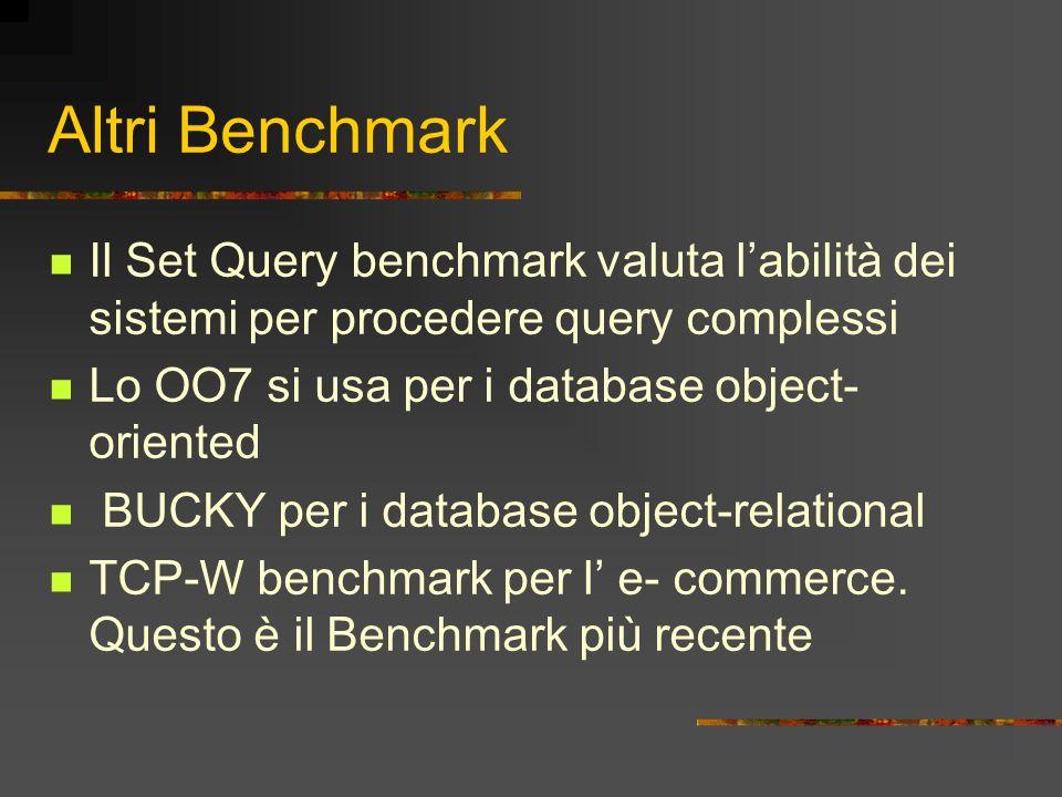 Altri Benchmark Il Set Query benchmark valuta labilità dei sistemi per procedere query complessi Lo OO7 si usa per i database object- oriented BUCKY p
