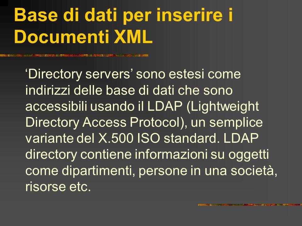 Base di dati per inserire i Documenti XML Directory servers sono estesi come indirizzi delle base di dati che sono accessibili usando il LDAP (Lightwe