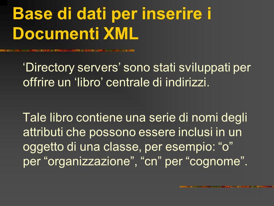 Base di dati per inserire i Documenti XML Directory servers sono stati sviluppati per offrire un libro centrale di indirizzi. Tale libro contiene una