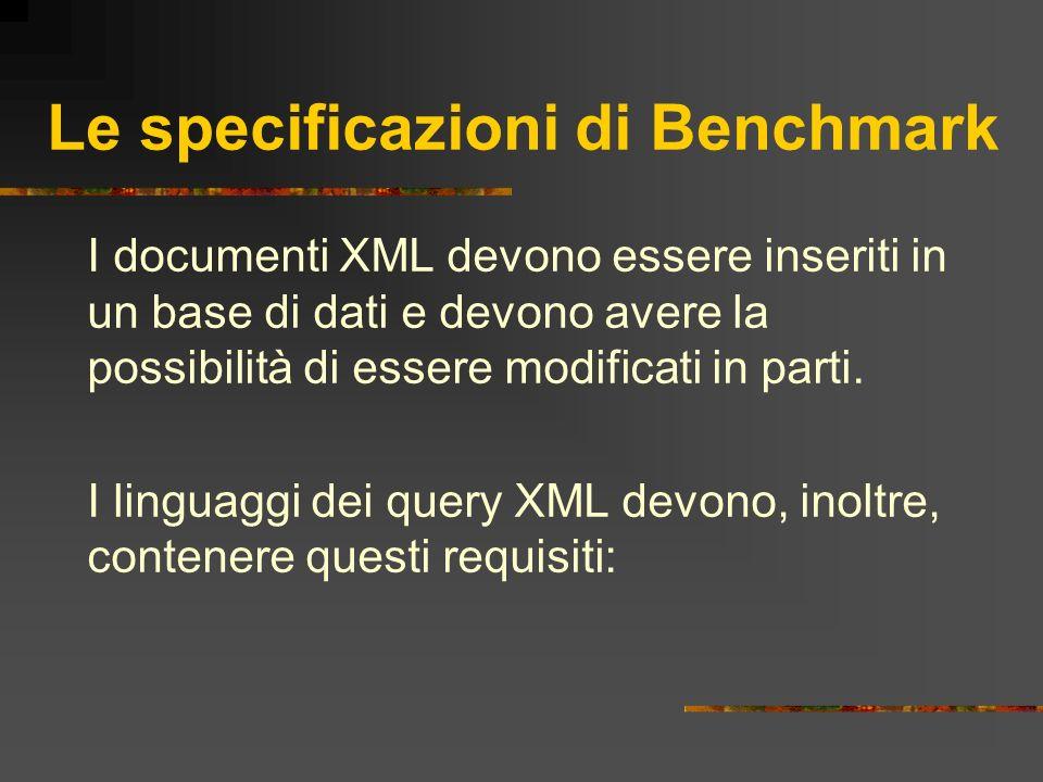 Le specificazioni di Benchmark I documenti XML devono essere inseriti in un base di dati e devono avere la possibilità di essere modificati in parti.