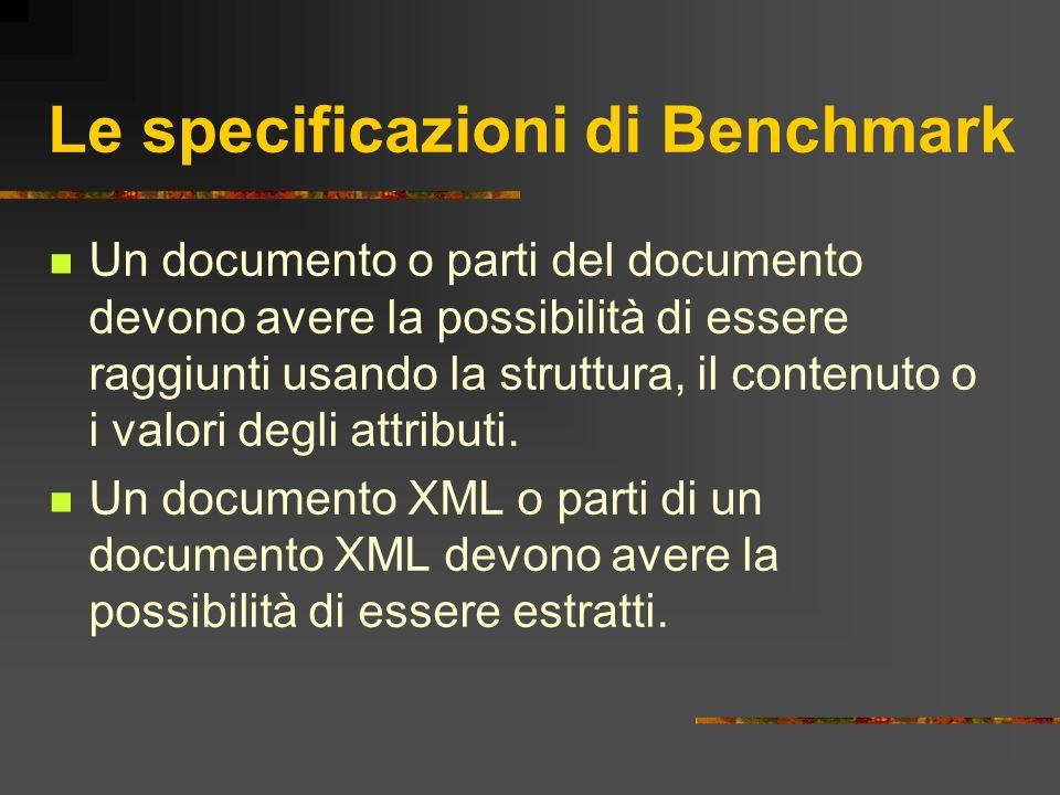 Le specificazioni di Benchmark Un documento o parti del documento devono avere la possibilità di essere raggiunti usando la struttura, il contenuto o