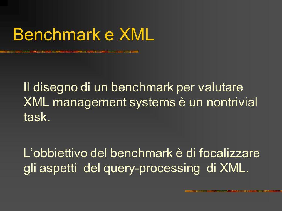 Benchmark e XML Il disegno di un benchmark per valutare XML management systems è un nontrivial task. Lobbiettivo del benchmark è di focalizzare gli as