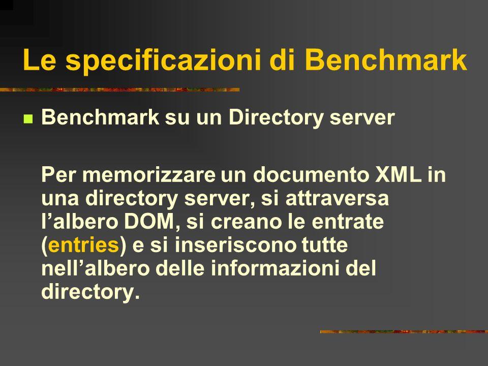 Le specificazioni di Benchmark Benchmark su un Directory server Per memorizzare un documento XML in una directory server, si attraversa lalbero DOM, s