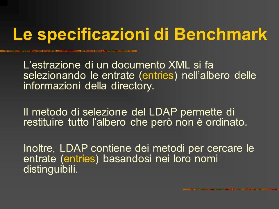 Le specificazioni di Benchmark Lestrazione di un documento XML si fa selezionando le entrate (entries) nellalbero delle informazioni della directory.