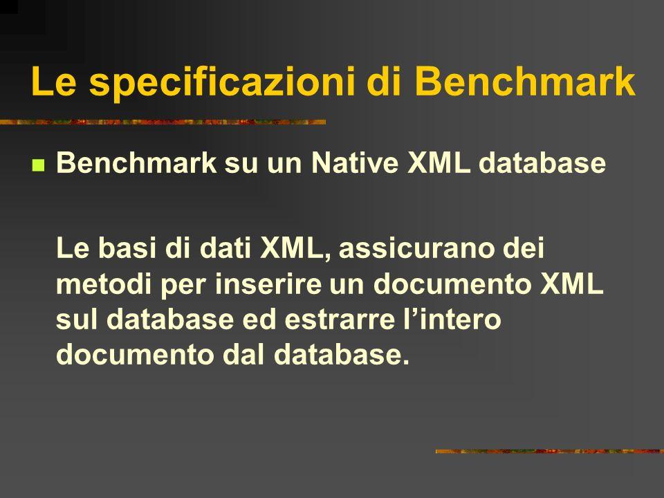 Le specificazioni di Benchmark Benchmark su un Native XML database Le basi di dati XML, assicurano dei metodi per inserire un documento XML sul databa