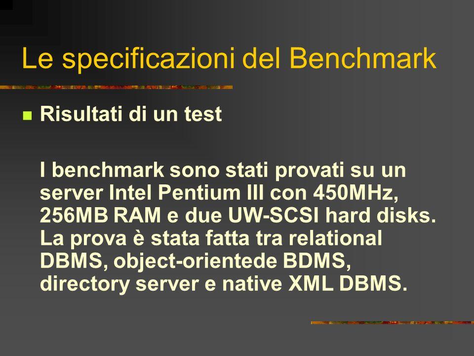 Le specificazioni del Benchmark Risultati di un test I benchmark sono stati provati su un server Intel Pentium III con 450MHz, 256MB RAM e due UW-SCSI