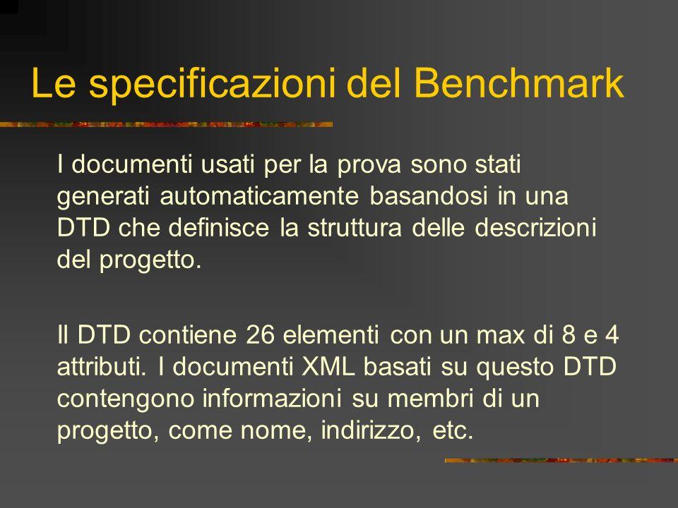 Le specificazioni del Benchmark I documenti usati per la prova sono stati generati automaticamente basandosi in una DTD che definisce la struttura del