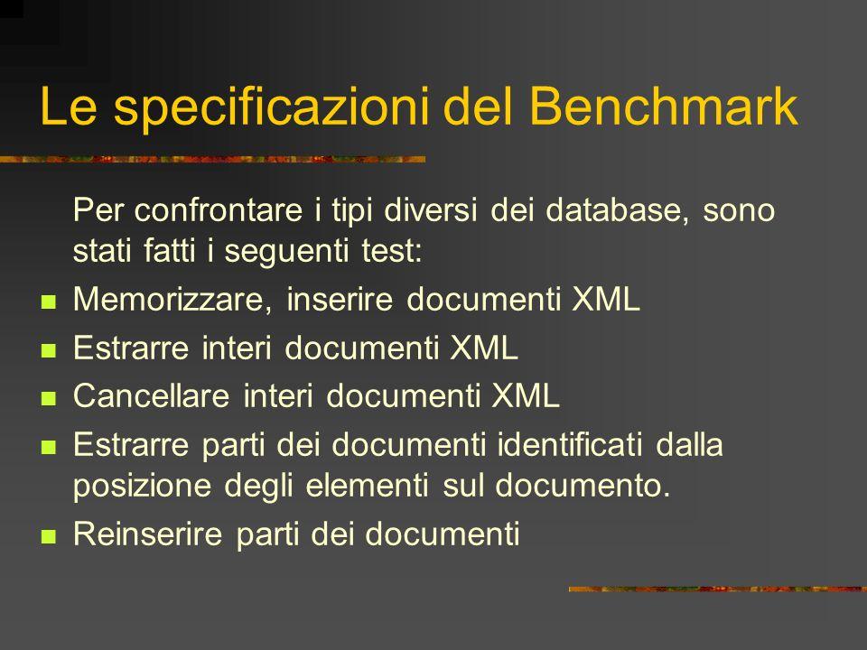Le specificazioni del Benchmark Per confrontare i tipi diversi dei database, sono stati fatti i seguenti test: Memorizzare, inserire documenti XML Est