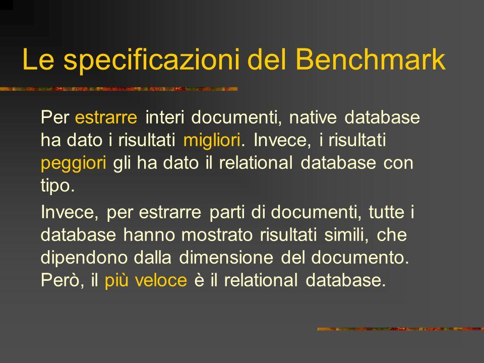 Le specificazioni del Benchmark Per estrarre interi documenti, native database ha dato i risultati migliori. Invece, i risultati peggiori gli ha dato