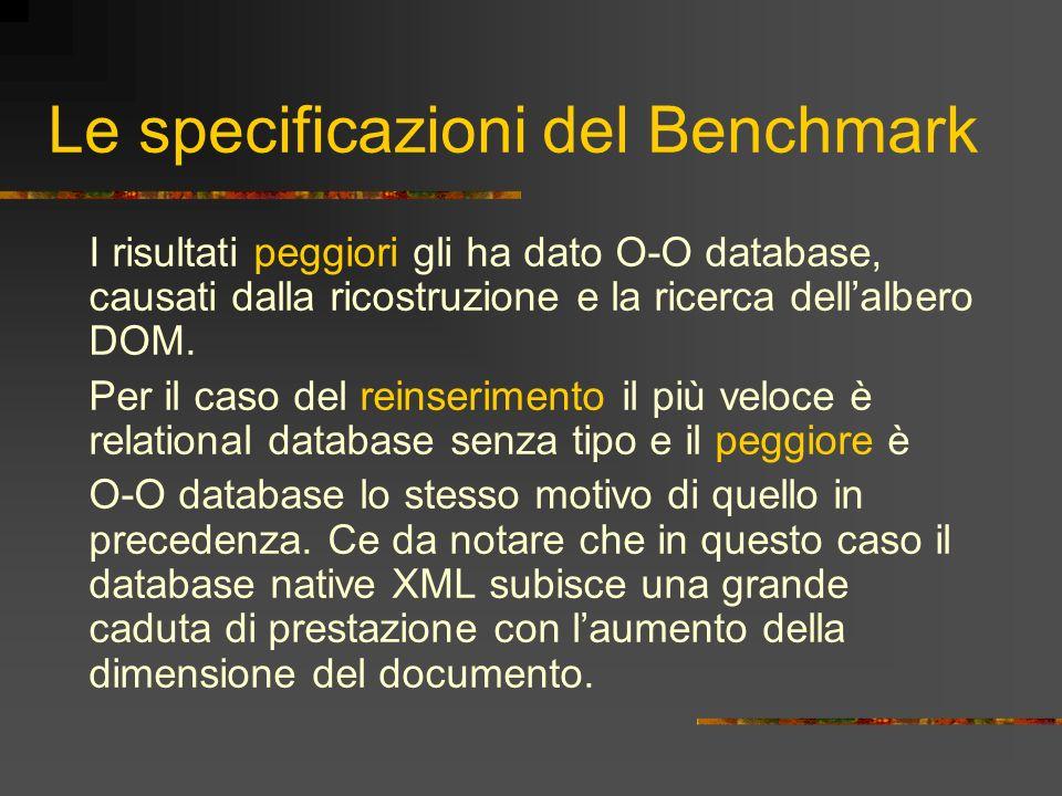 Le specificazioni del Benchmark I risultati peggiori gli ha dato O-O database, causati dalla ricostruzione e la ricerca dellalbero DOM. Per il caso de