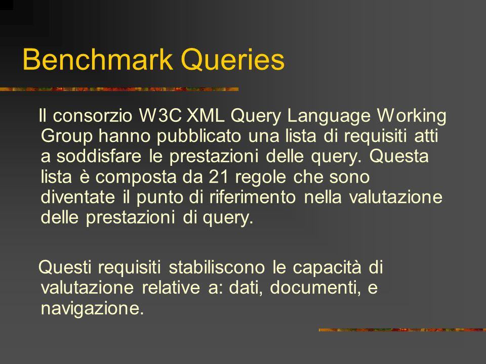 Benchmark Queries Il consorzio W3C XML Query Language Working Group hanno pubblicato una lista di requisiti atti a soddisfare le prestazioni delle que