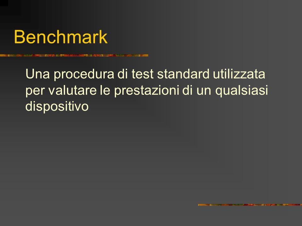 Definizione Benchmarking: banco di prova, test effettuato quando si confrontano due programmi progettati per svolgere la stessa serie di compiti o due elaboratori per valutarne le prestazioni.