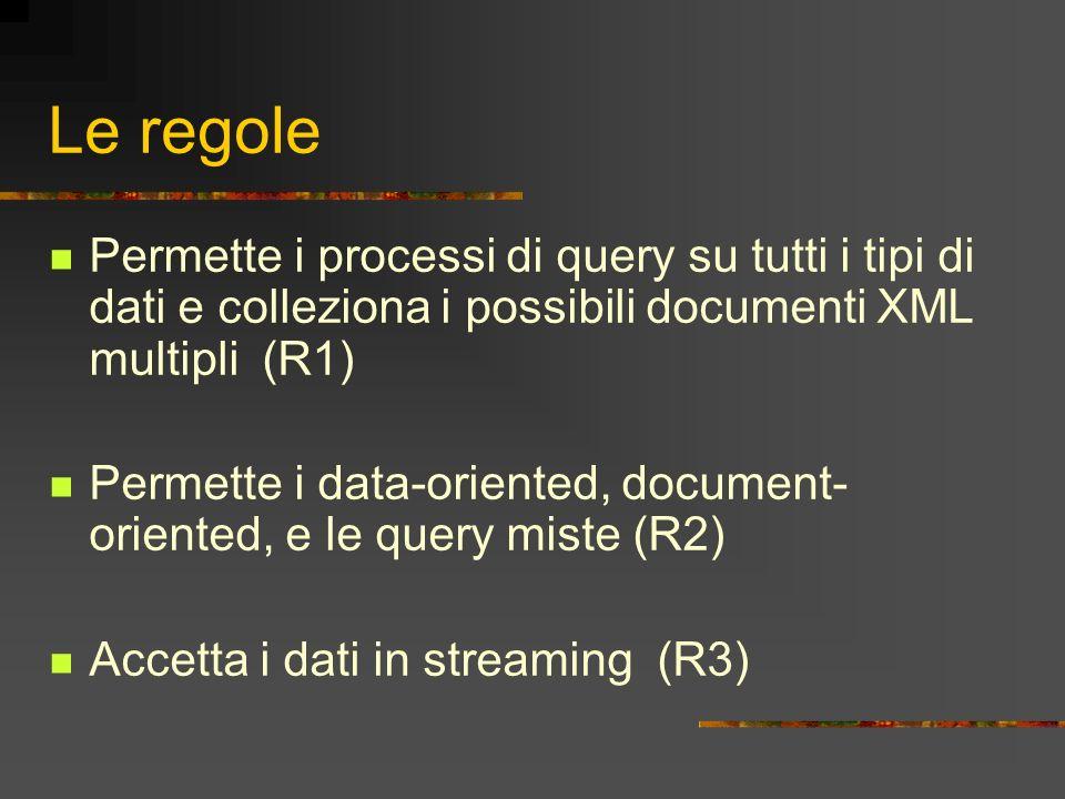 Le regole Permette i processi di query su tutti i tipi di dati e colleziona i possibili documenti XML multipli (R1) Permette i data-oriented, document