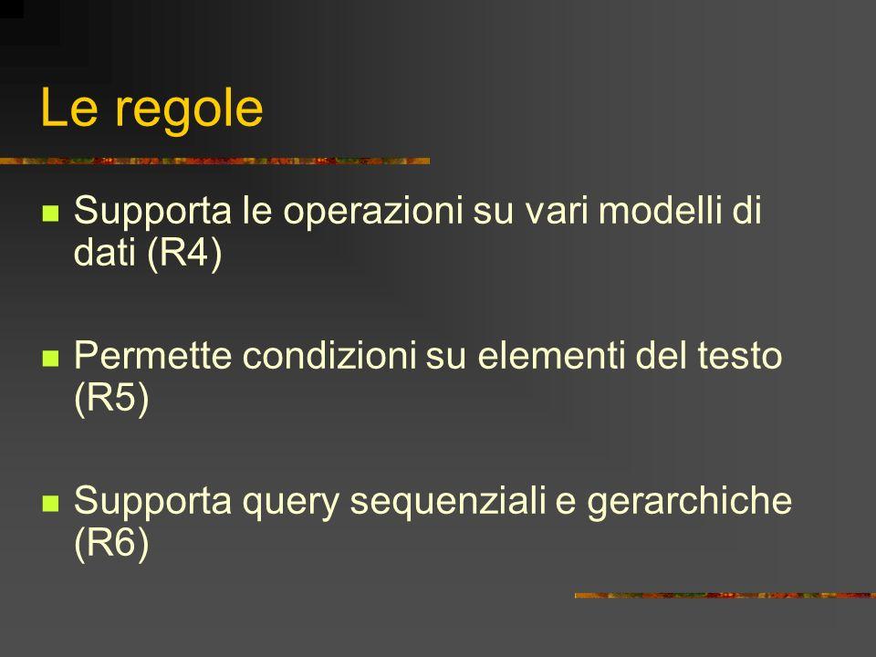 Le regole Supporta le operazioni su vari modelli di dati (R4) Permette condizioni su elementi del testo (R5) Supporta query sequenziali e gerarchiche