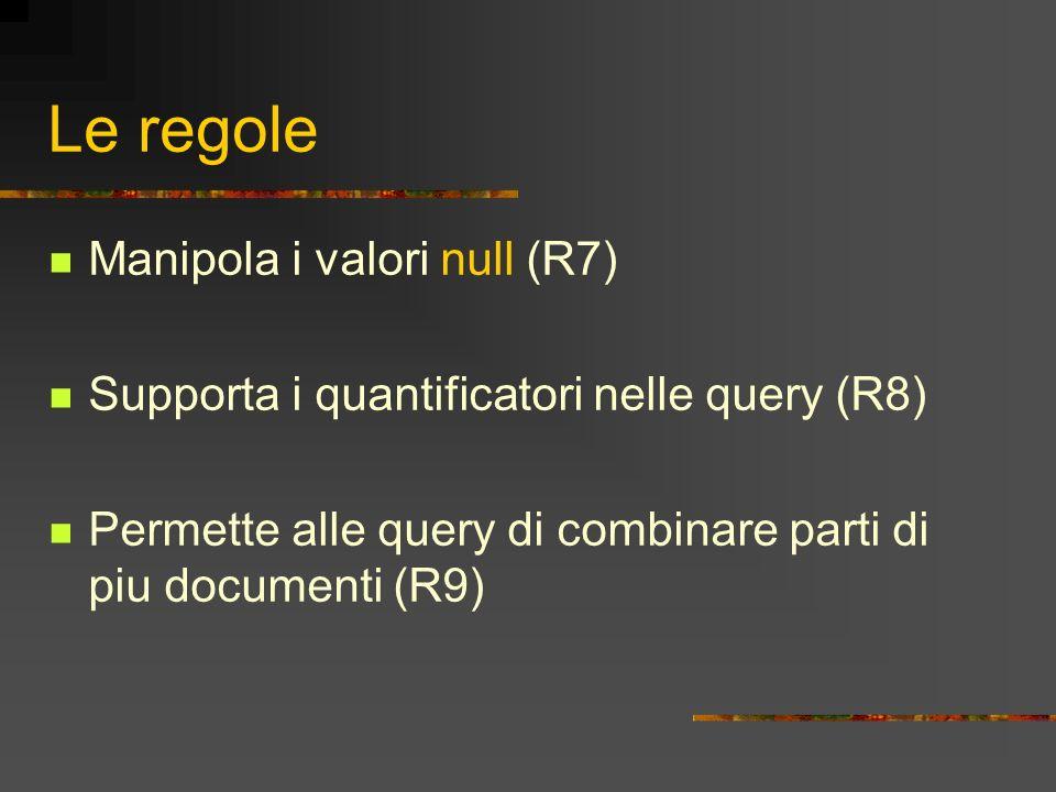 Le regole Manipola i valori null (R7) Supporta i quantificatori nelle query (R8) Permette alle query di combinare parti di piu documenti (R9)