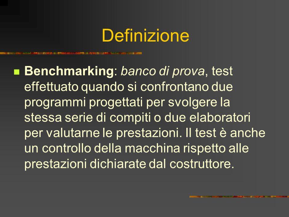 Definizione Benchmarking: banco di prova, test effettuato quando si confrontano due programmi progettati per svolgere la stessa serie di compiti o due