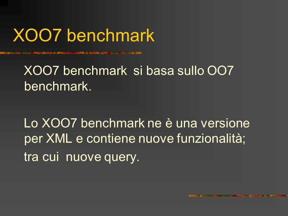 XOO7 benchmark XOO7 benchmark si basa sullo OO7 benchmark. Lo XOO7 benchmark ne è una versione per XML e contiene nuove funzionalità; tra cui nuove qu