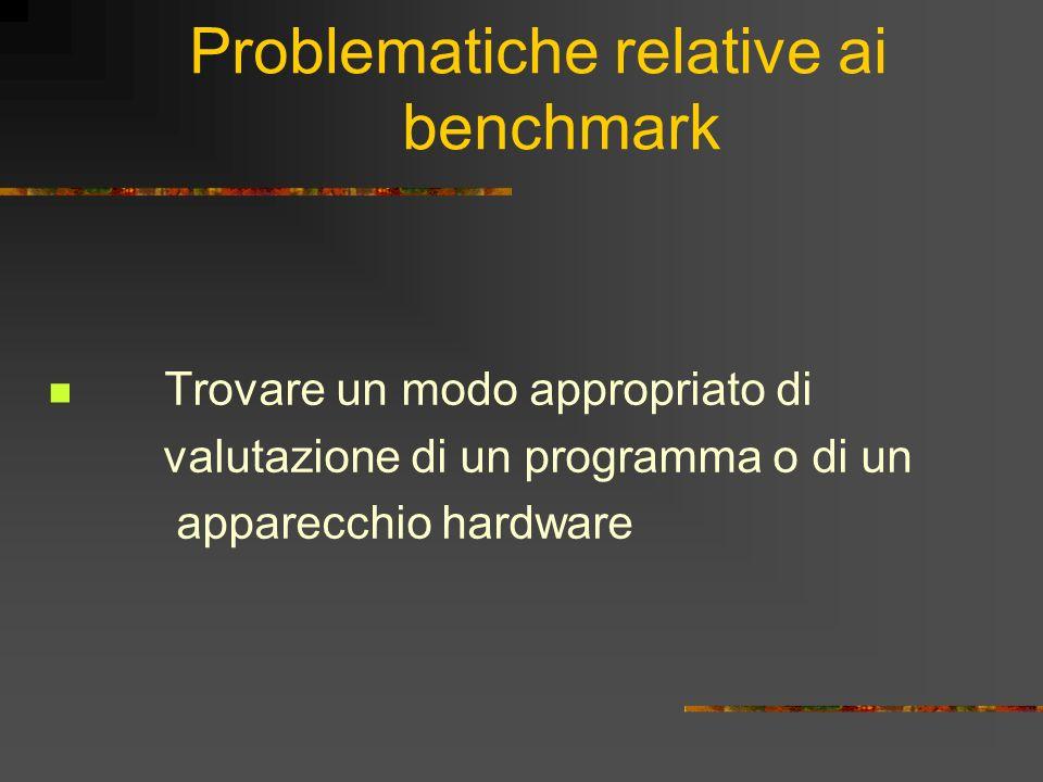 Problematiche relative ai benchmark Trovare un modo appropriato di valutazione di un programma o di un apparecchio hardware