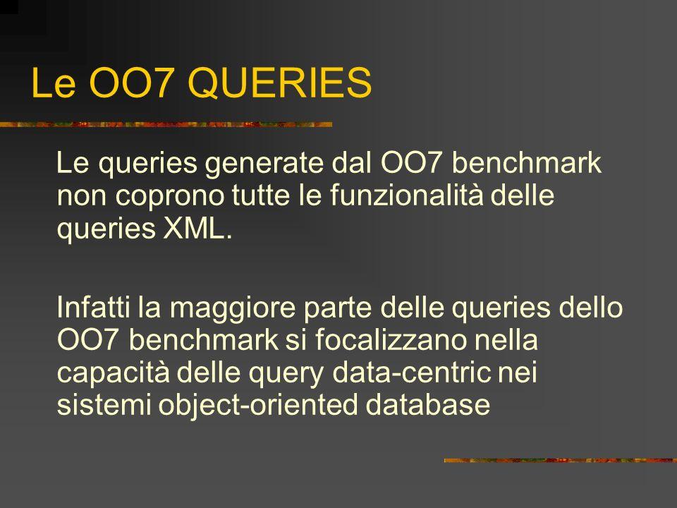 Le OO7 QUERIES Le queries generate dal OO7 benchmark non coprono tutte le funzionalità delle queries XML. Infatti la maggiore parte delle queries dell