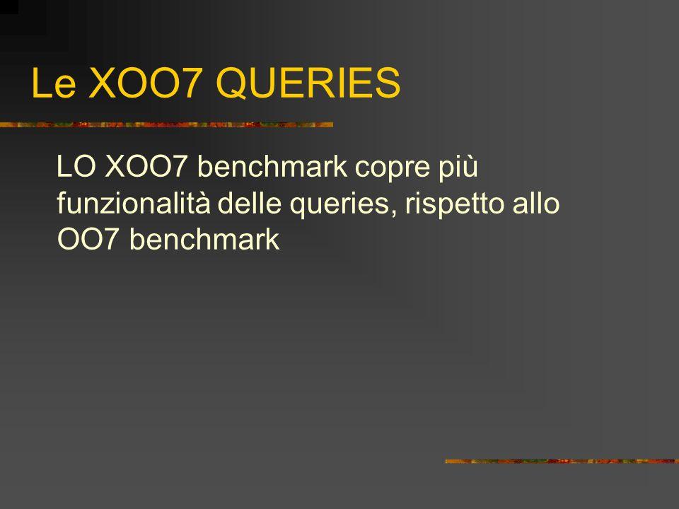 Le XOO7 QUERIES LO XOO7 benchmark copre più funzionalità delle queries, rispetto allo OO7 benchmark
