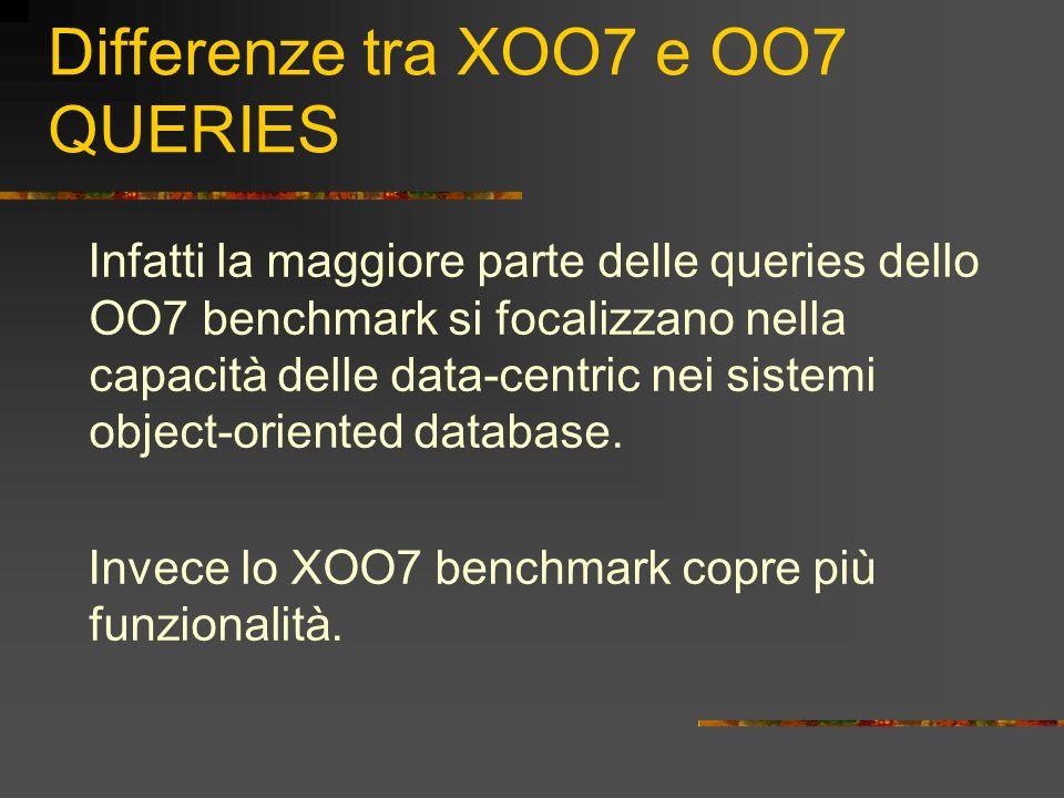 Differenze tra XOO7 e OO7 QUERIES Infatti la maggiore parte delle queries dello OO7 benchmark si focalizzano nella capacità delle data-centric nei sis