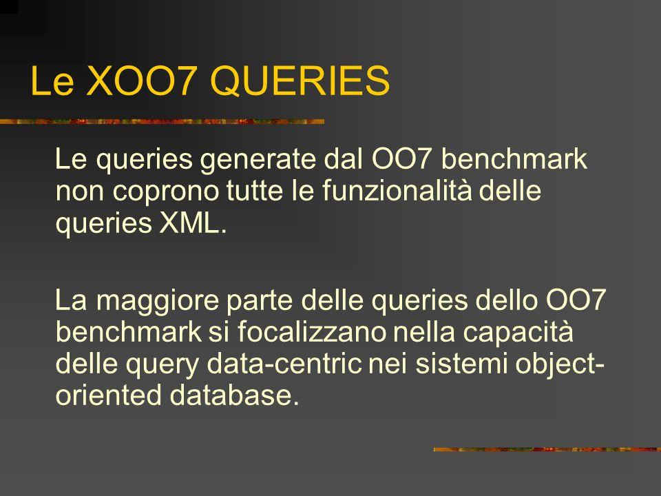 Le XOO7 QUERIES Le queries generate dal OO7 benchmark non coprono tutte le funzionalità delle queries XML. La maggiore parte delle queries dello OO7 b