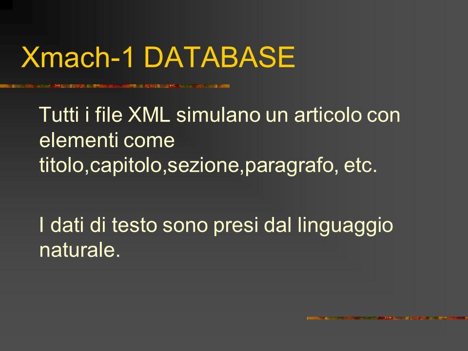Xmach-1 DATABASE Tutti i file XML simulano un articolo con elementi come titolo,capitolo,sezione,paragrafo, etc. I dati di testo sono presi dal lingua