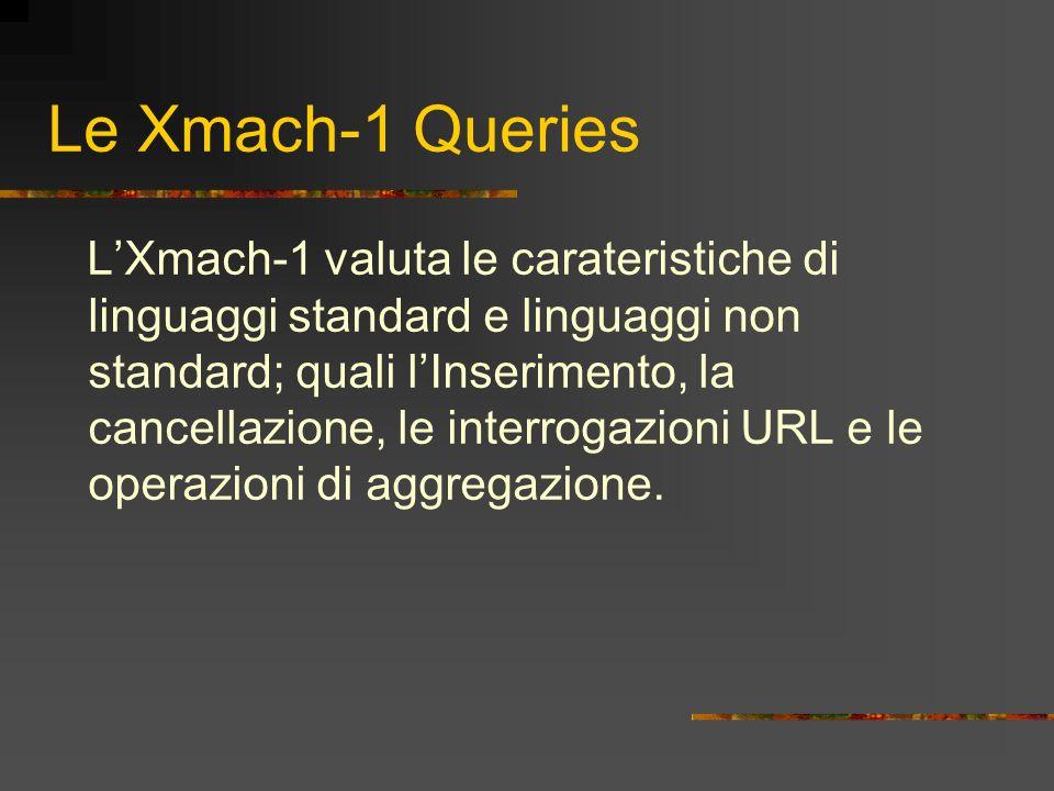 Le Xmach-1 Queries LXmach-1 valuta le carateristiche di linguaggi standard e linguaggi non standard; quali lInserimento, la cancellazione, le interrog