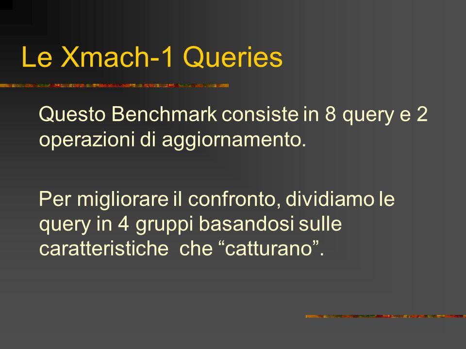 Le Xmach-1 Queries Questo Benchmark consiste in 8 query e 2 operazioni di aggiornamento. Per migliorare il confronto, dividiamo le query in 4 gruppi b