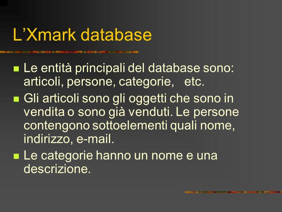 LXmark database Le entità principali del database sono: articoli, persone, categorie, etc. Gli articoli sono gli oggetti che sono in vendita o sono gi