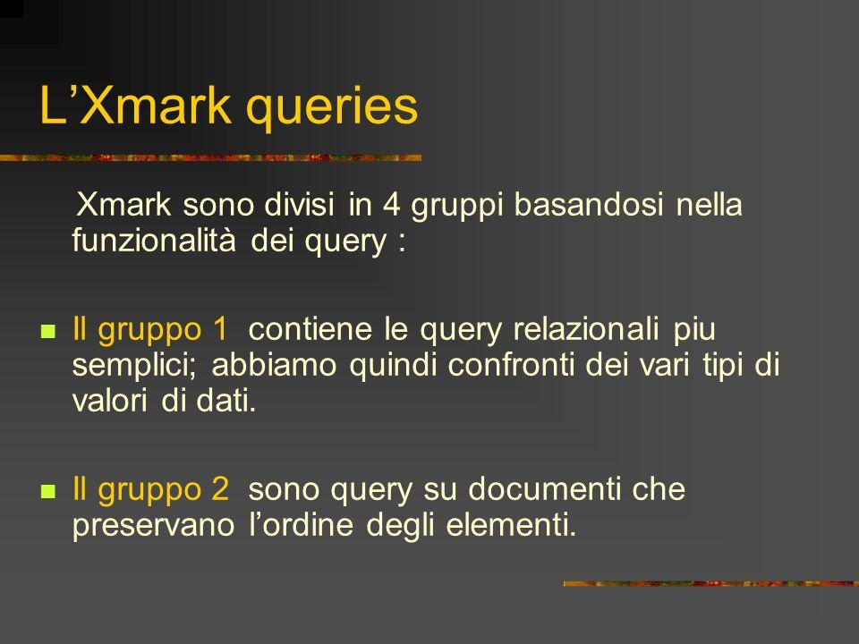 LXmark queries Xmark sono divisi in 4 gruppi basandosi nella funzionalità dei query : Il gruppo 1 contiene le query relazionali piu semplici; abbiamo