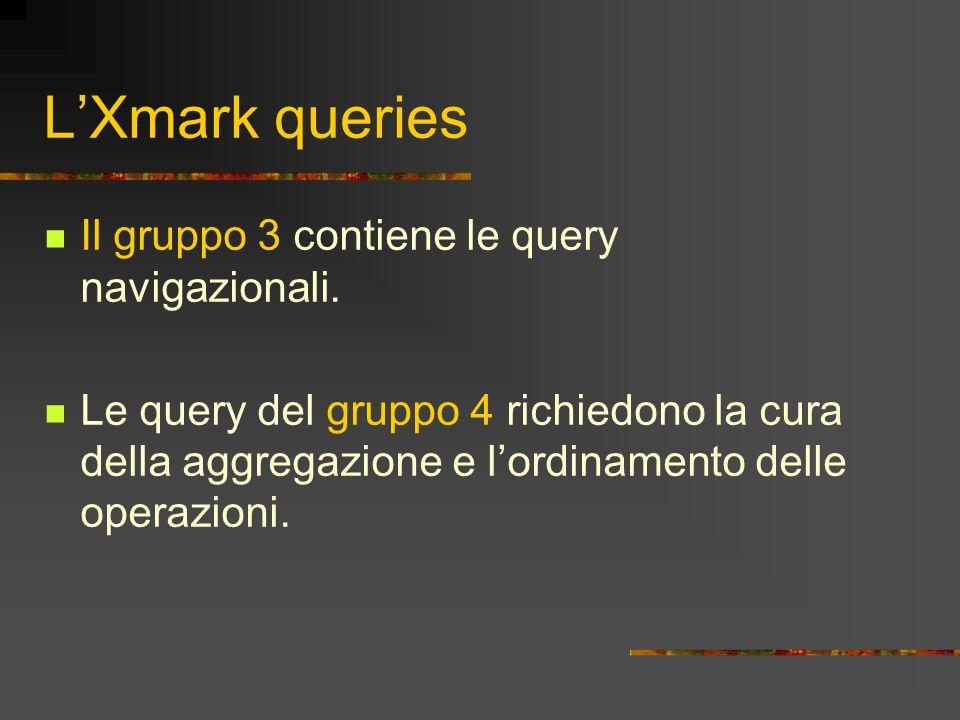 LXmark queries Il gruppo 3 contiene le query navigazionali. Le query del gruppo 4 richiedono la cura della aggregazione e lordinamento delle operazion