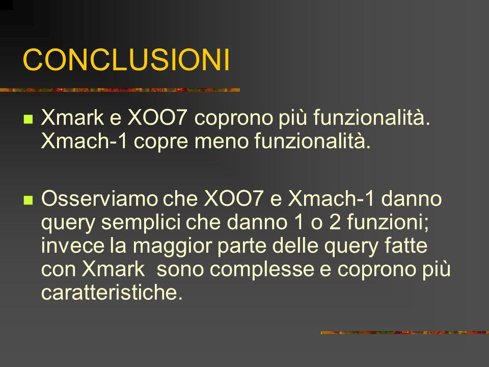 CONCLUSIONI Xmark e XOO7 coprono più funzionalità. Xmach-1 copre meno funzionalità. Osserviamo che XOO7 e Xmach-1 danno query semplici che danno 1 o 2