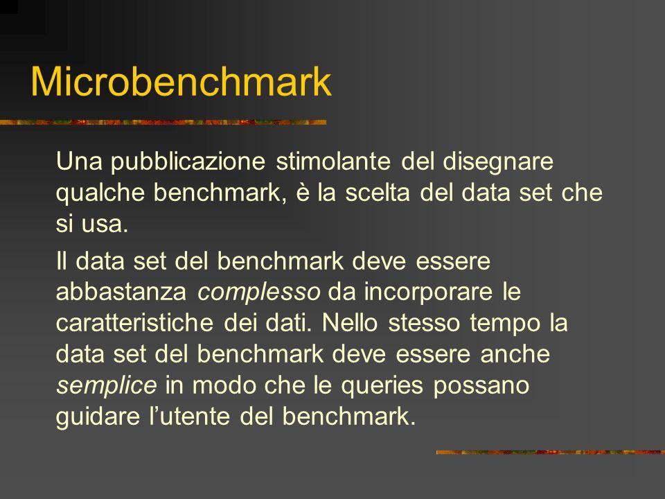 Microbenchmark Una pubblicazione stimolante del disegnare qualche benchmark, è la scelta del data set che si usa. Il data set del benchmark deve esser