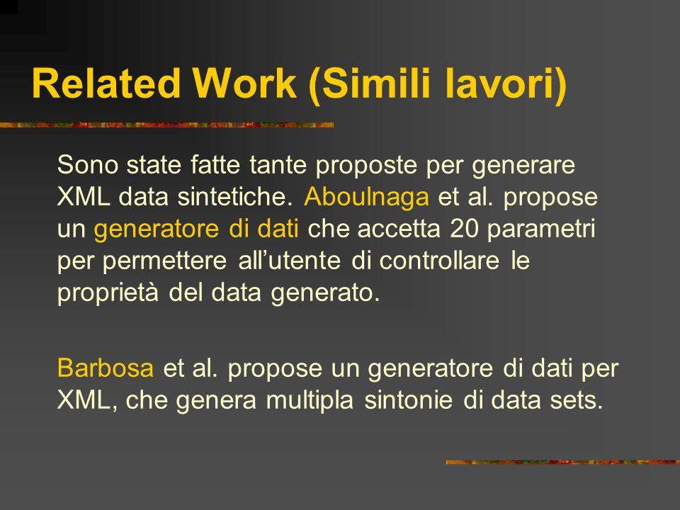 Related Work (Simili lavori) Sono state fatte tante proposte per generare XML data sintetiche. Aboulnaga et al. propose un generatore di dati che acce