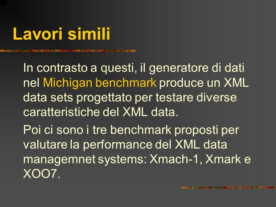 Lavori simili In contrasto a questi, il generatore di dati nel Michigan benchmark produce un XML data sets progettato per testare diverse caratteristi