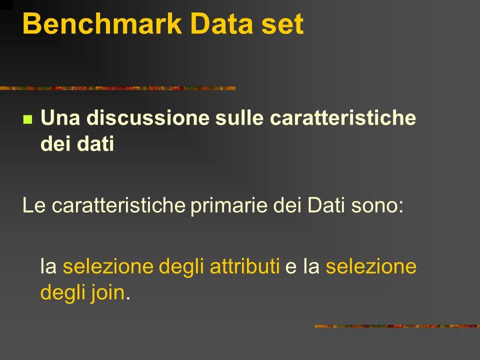 Benchmark Data set Una discussione sulle caratteristiche dei dati Le caratteristiche primarie dei Dati sono: la selezione degli attributi e la selezio