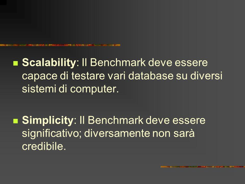 Scalability: Il Benchmark deve essere capace di testare vari database su diversi sistemi di computer. Simplicity: Il Benchmark deve essere significati
