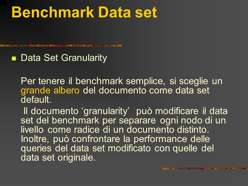 Benchmark Data set Data Set Granularity Per tenere il benchmark semplice, si sceglie un grande albero del documento come data set default. Il document