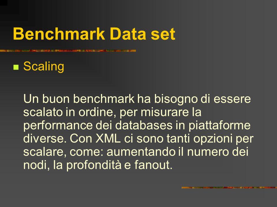 Benchmark Data set Scaling Un buon benchmark ha bisogno di essere scalato in ordine, per misurare la performance dei databases in piattaforme diverse.