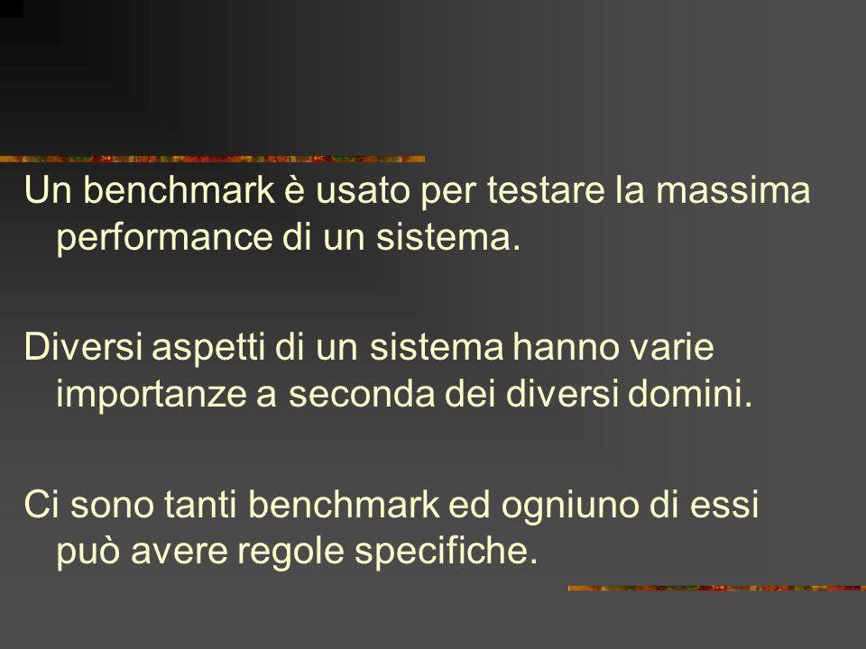 Un benchmark è usato per testare la massima performance di un sistema. Diversi aspetti di un sistema hanno varie importanze a seconda dei diversi domi