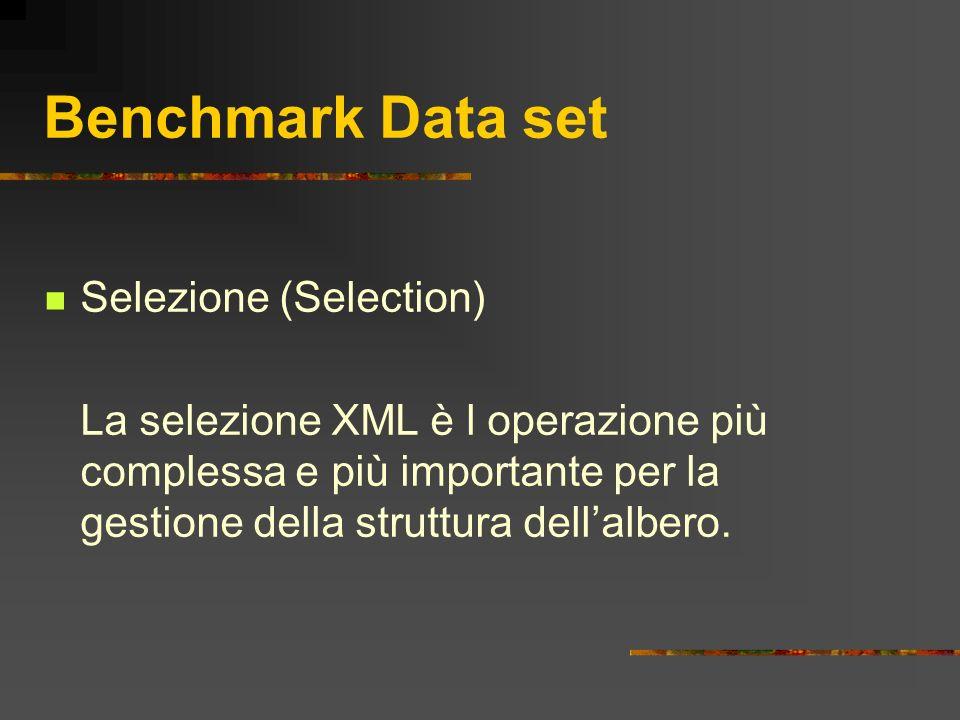 Benchmark Data set Selezione (Selection) La selezione XML è l operazione più complessa e più importante per la gestione della struttura dellalbero.