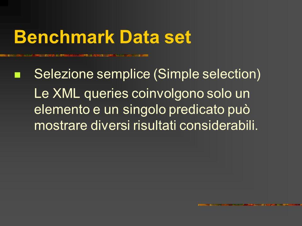 Benchmark Data set Selezione semplice (Simple selection) Le XML queries coinvolgono solo un elemento e un singolo predicato può mostrare diversi risul