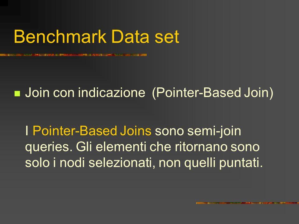 Benchmark Data set Join con indicazione (Pointer-Based Join) I Pointer-Based Joins sono semi-join queries. Gli elementi che ritornano sono solo i nodi